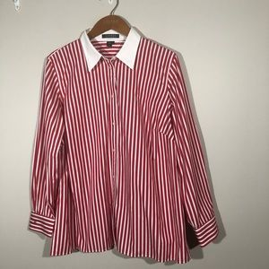 NWT Ralph Lauren Red/White Striped Shirt SZ 1X